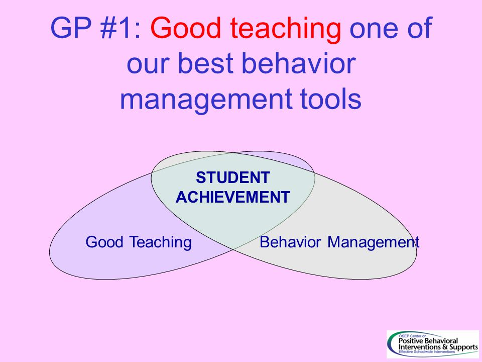 GP #1: Good teaching one of our best behavior management tools Good TeachingBehavior Management STUDENT ACHIEVEMENT