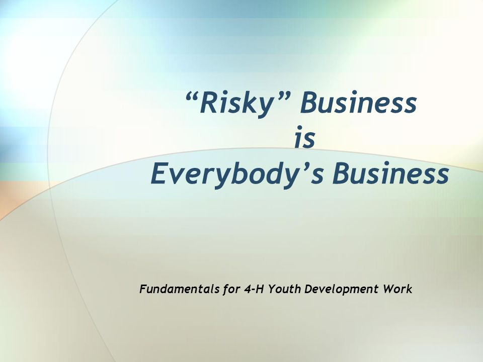 Risky Business is Everybodys Business Fundamentals for 4-H Youth Development Work