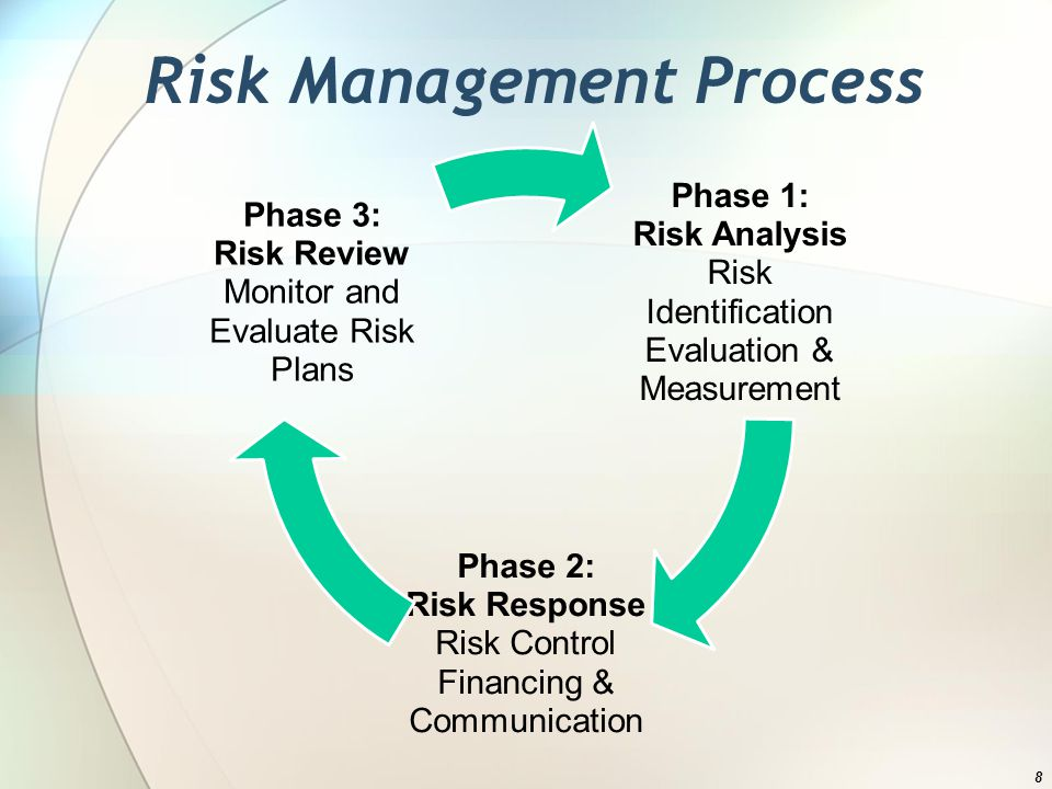 Risk Management Process Phase 1: Risk Analysis Risk Identification Evaluation & Measurement Phase 2: Risk Response Risk Control Financing & Communication Phase 3: Risk Review Monitor and Evaluate Risk Plans 8