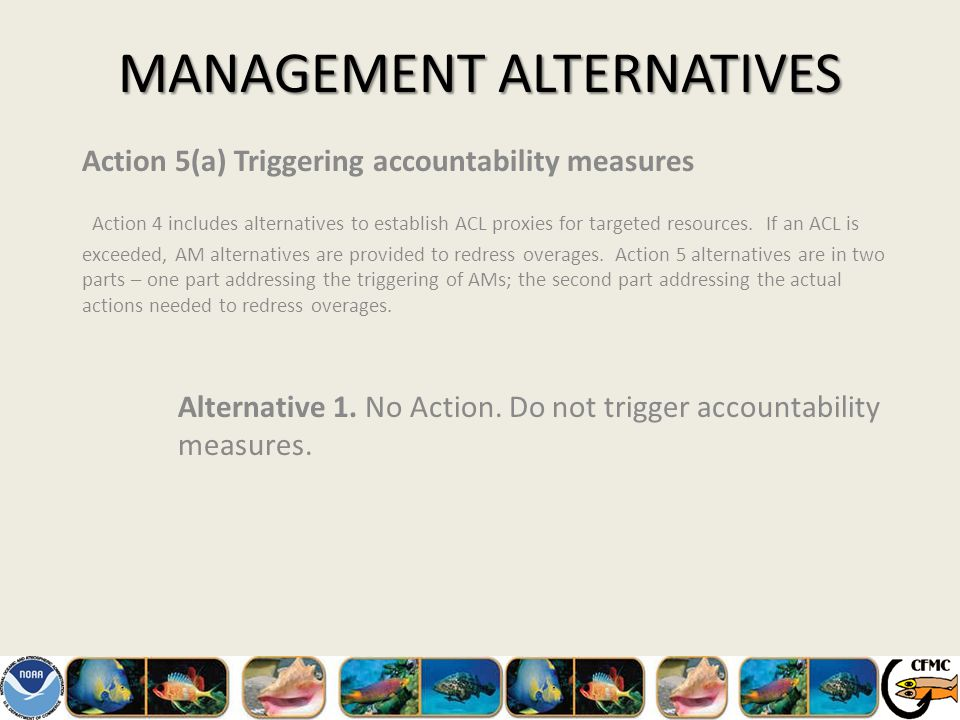 MANAGEMENT ALTERNATIVES Action 5(a) Triggering accountability measures Action 4 includes alternatives to establish ACL proxies for targeted resources.
