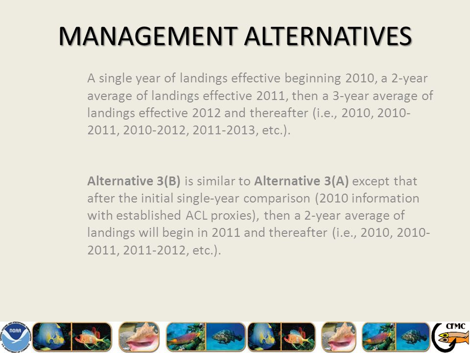 MANAGEMENT ALTERNATIVES A single year of landings effective beginning 2010, a 2-year average of landings effective 2011, then a 3-year average of landings effective 2012 and thereafter (i.e., 2010, 2010- 2011, 2010-2012, 2011-2013, etc.).