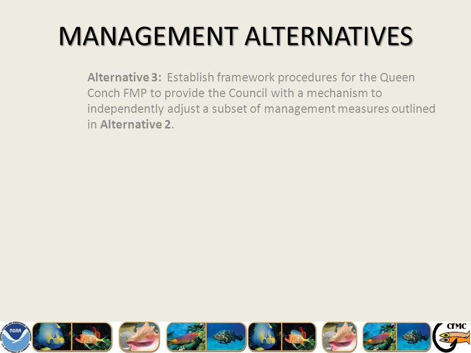 MANAGEMENT ALTERNATIVES Alternative 3: Establish framework procedures for the Queen Conch FMP to provide the Council with a mechanism to independently adjust a subset of management measures outlined in Alternative 2.