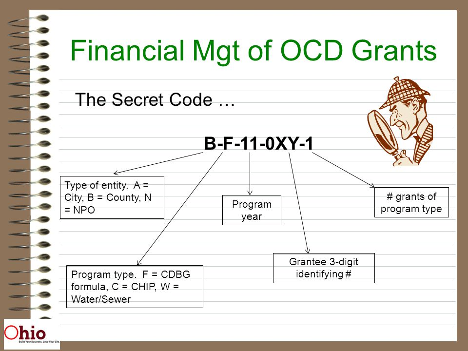 Financial Mgt of OCD Grants The Secret Code … B-F-11-0XY-1 Type of entity.