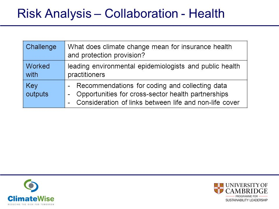 Risk Analysis – Collaboration - Health ChallengeWhat does climate change mean for insurance health and protection provision.