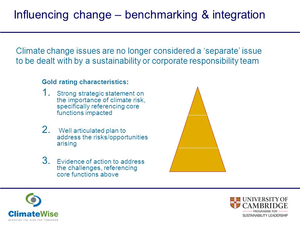 Influencing change – benchmarking & integration Climate change issues are no longer considered a separate issue to be dealt with by a sustainability or corporate responsibility team Gold rating characteristics: 1.