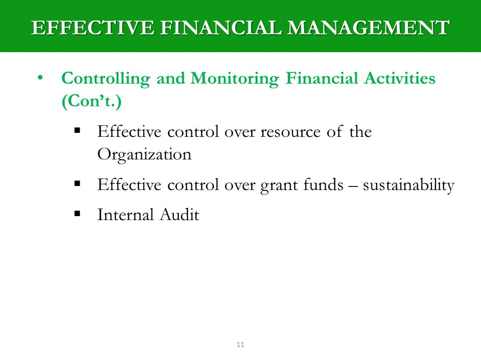 EFFECTIVE FINANCIAL MANAGEMENT 11 Controlling and Monitoring Financial Activities (Cont.) Effective control over resource of the Organization Effective control over grant funds – sustainability Internal Audit