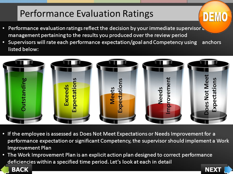 Performance Evaluation Ratings If the employee is assessed as Does Not Meet Expectations or Needs Improvement for a performance expectation or significant Competency, the supervisor should implement a Work Improvement Plan The Work Improvement Plan is an explicit action plan designed to correct performance deficiencies within a specified time period.