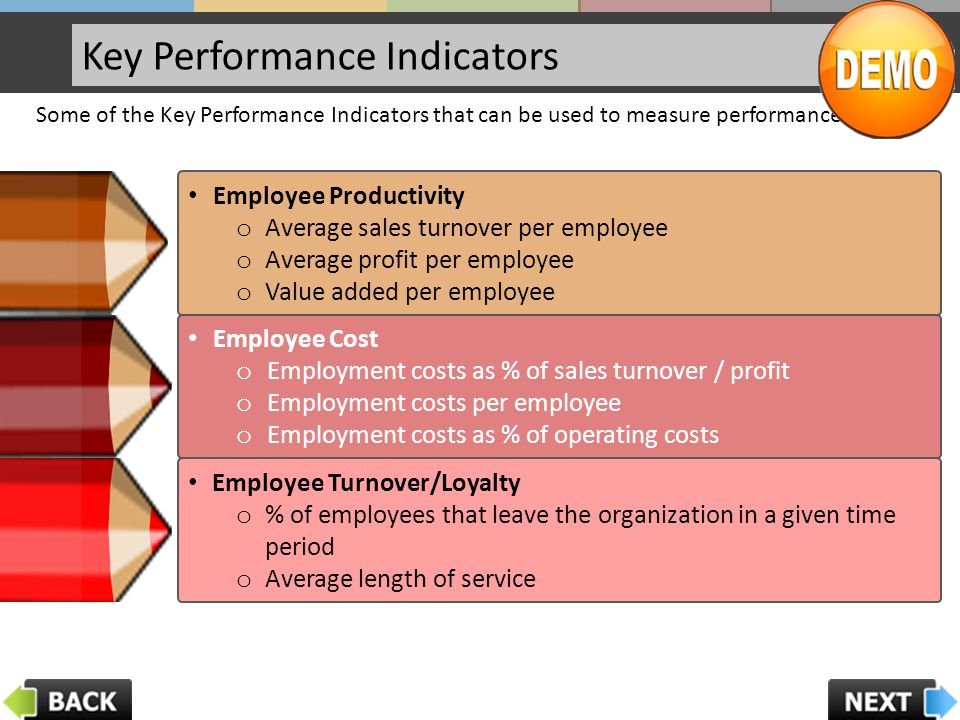 Key Performance Indicators Some of the Key Performance Indicators that can be used to measure performance are: Employee Productivity o Average sales turnover per employee o Average profit per employee o Value added per employee Employee Cost o Employment costs as % of sales turnover / profit o Employment costs per employee o Employment costs as % of operating costs Employee Turnover/Loyalty o % of employees that leave the organization in a given time period o Average length of service