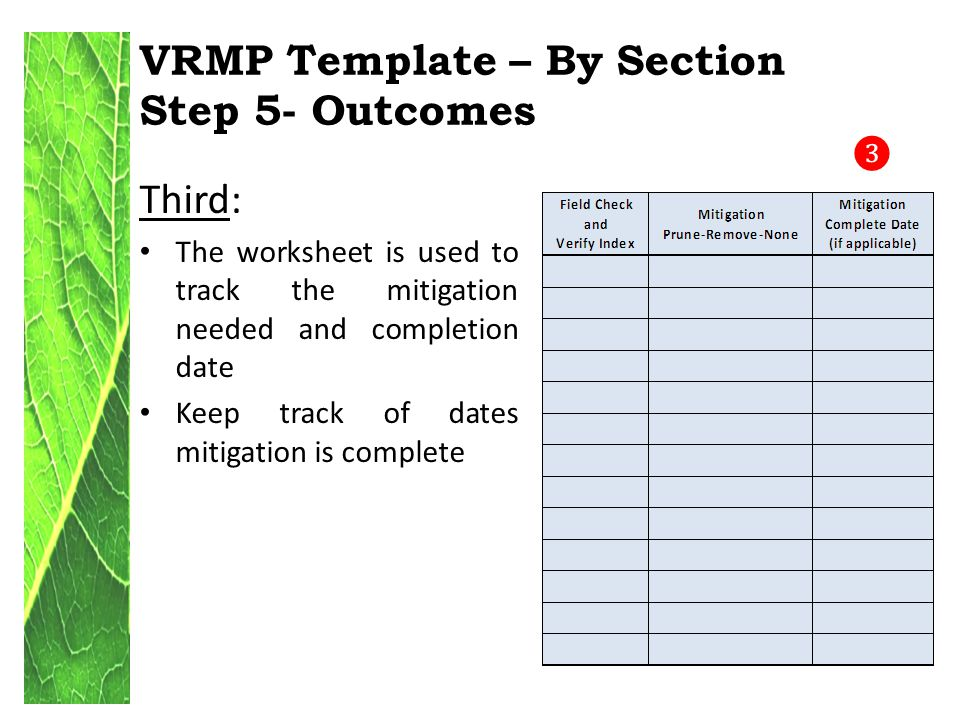 VRMP Template – By Section Step 5- Outcomes Third: The worksheet is used to track the mitigation needed and completion date Keep track of dates mitigation is complete