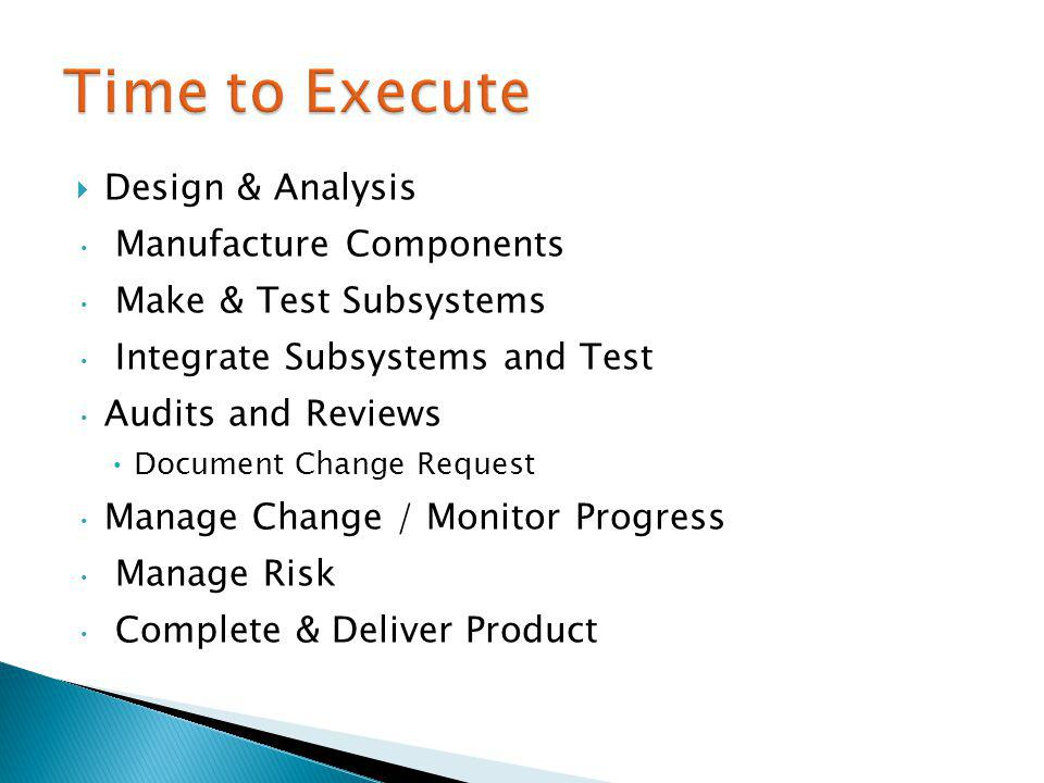 Design & Analysis Manufacture Components Make & Test Subsystems Integrate Subsystems and Test Audits and Reviews Document Change Request Manage Change / Monitor Progress Manage Risk Complete & Deliver Product
