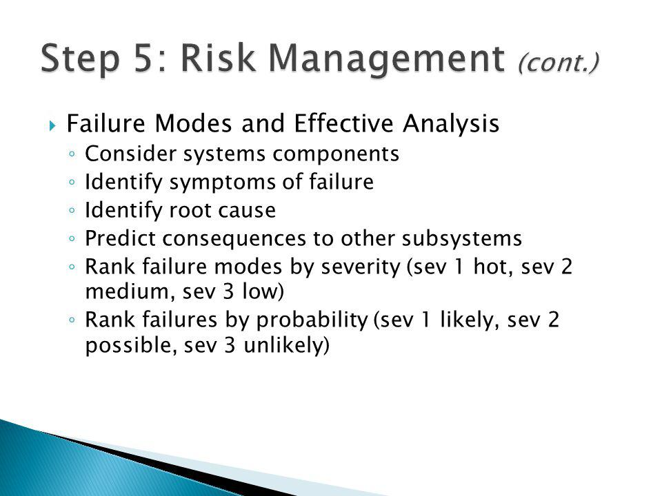Failure Modes and Effective Analysis Consider systems components Identify symptoms of failure Identify root cause Predict consequences to other subsystems Rank failure modes by severity (sev 1 hot, sev 2 medium, sev 3 low) Rank failures by probability (sev 1 likely, sev 2 possible, sev 3 unlikely)