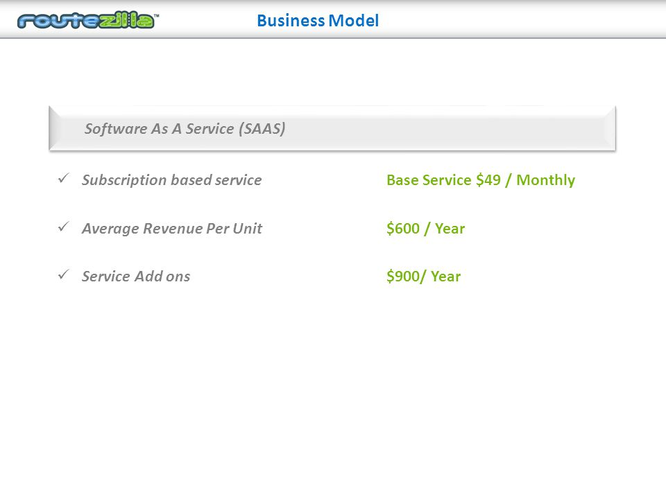 Business Model Subscription based service Average Revenue Per Unit Service Add ons Software As A Service (SAAS) Base Service $49 / Monthly $600 / Year $900/ Year