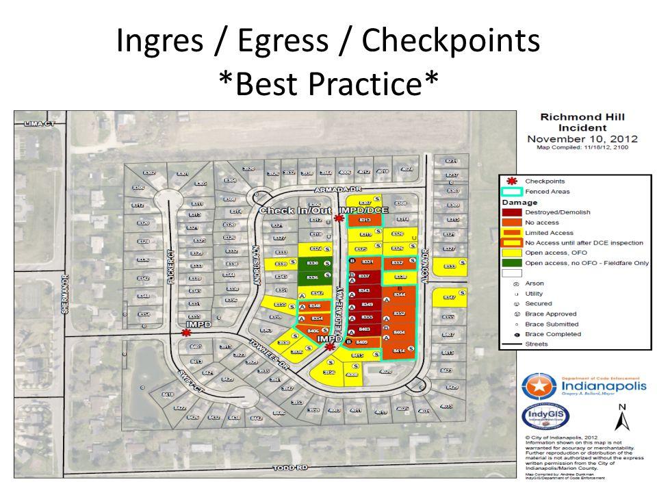 Ingres / Egress / Checkpoints *Best Practice*