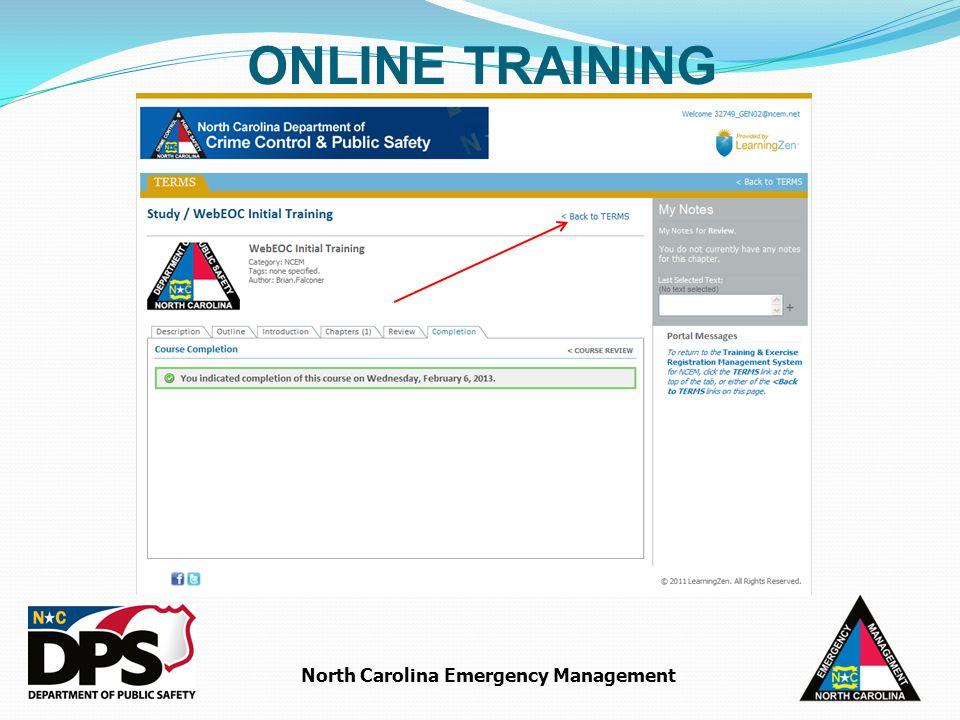 North Carolina Emergency Management ONLINE TRAINING