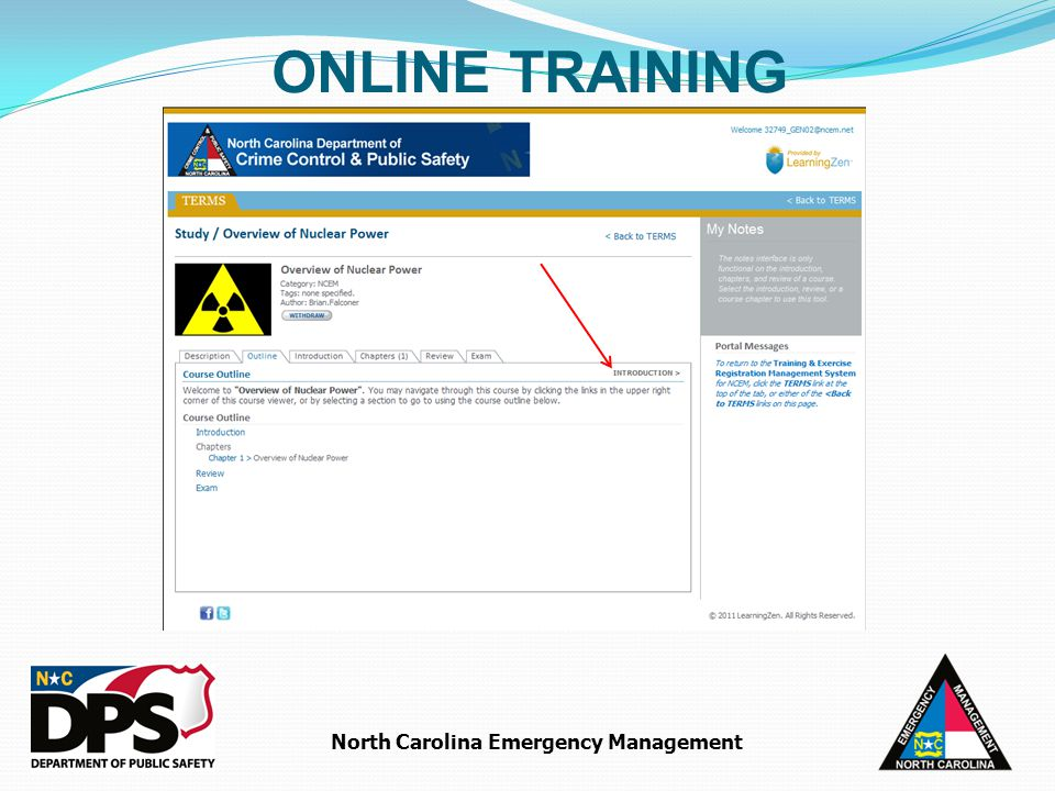 North Carolina Emergency Management ONLINE TRAINING
