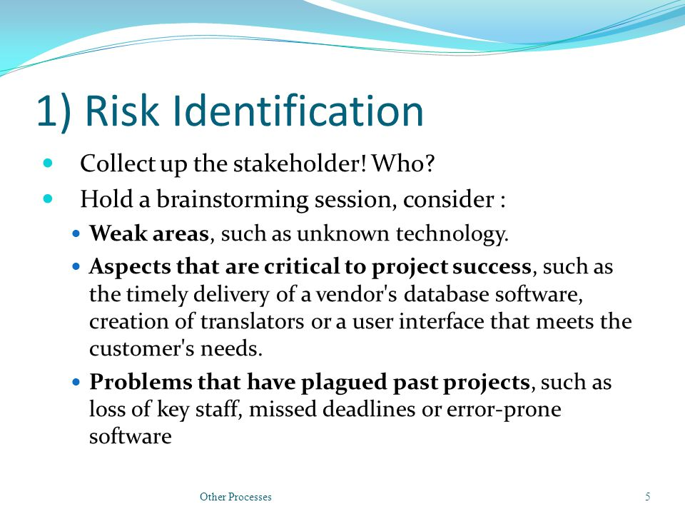1) Risk Identification Collect up the stakeholder.