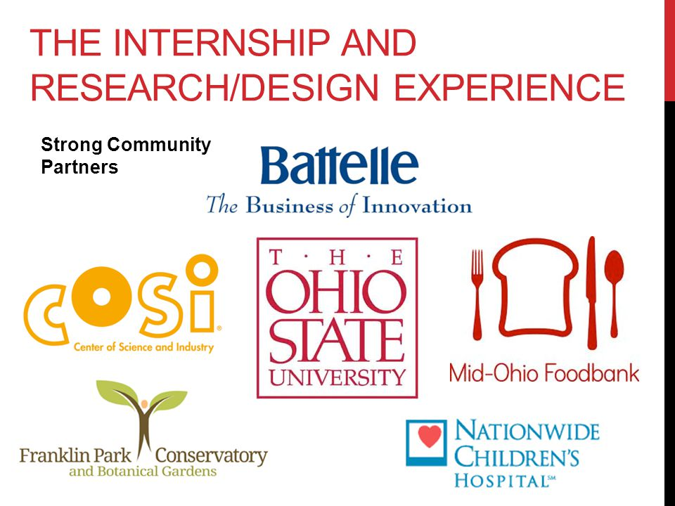 THE INTERNSHIP AND RESEARCH/DESIGN EXPERIENCE Strong Community Partners