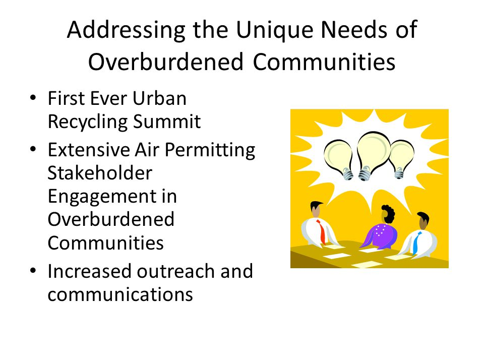 Addressing the Unique Needs of Overburdened Communities First Ever Urban Recycling Summit Extensive Air Permitting Stakeholder Engagement in Overburdened Communities Increased outreach and communications