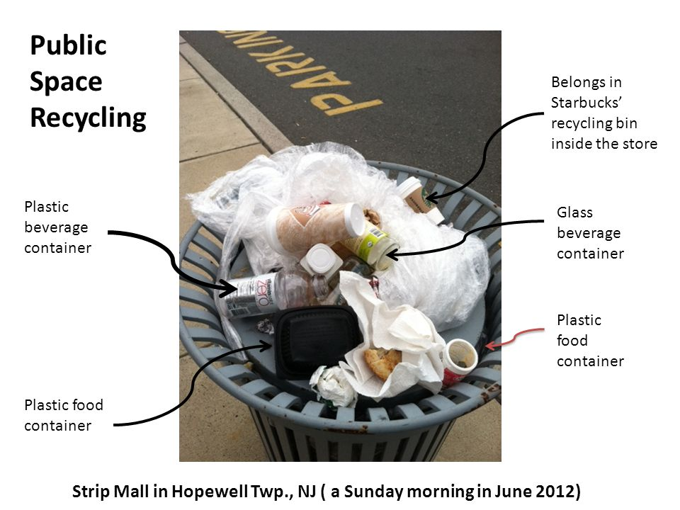 Belongs in Starbucks recycling bin inside the store Glass beverage container Plastic food container Plastic beverage container Strip Mall in Hopewell Twp., NJ ( a Sunday morning in June 2012) Public Space Recycling Plastic food container