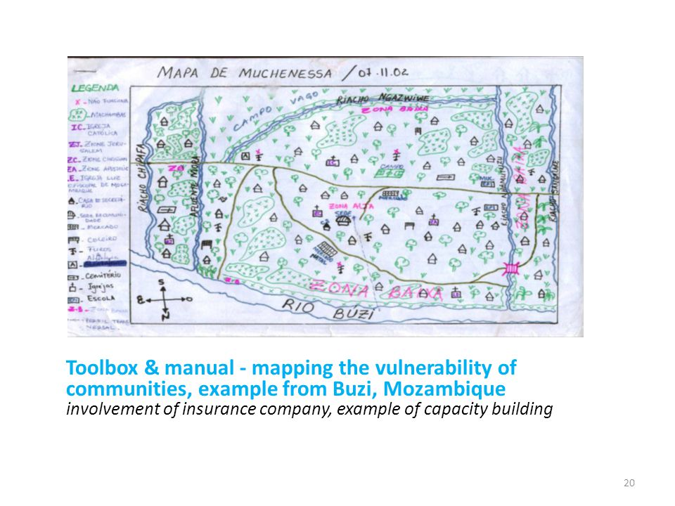 Toolbox & manual - mapping the vulnerability of communities, example from Buzi, Mozambique involvement of insurance company, example of capacity build