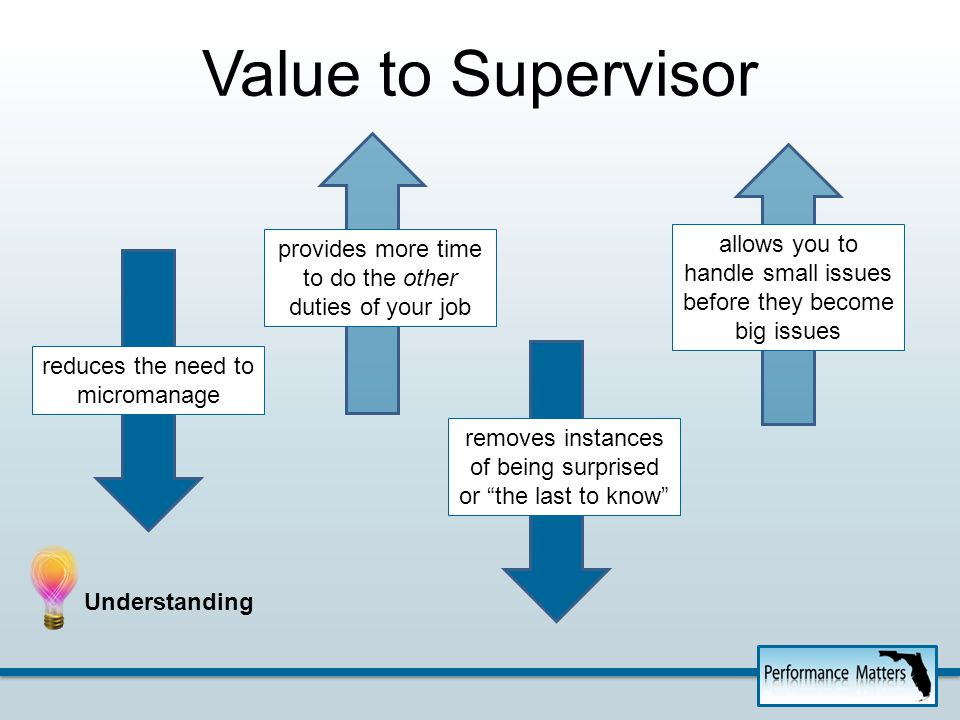 Value to Supervisor reduces the need to micromanage provides more time to do the other duties of your job removes instances of being surprised or the last to know allows you to handle small issues before they become big issues Understanding