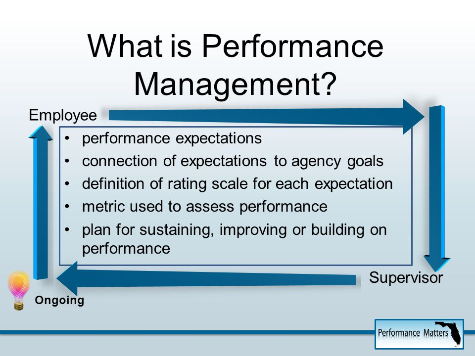 Performance Management – done correctly -- results in success at all levels of the agency. Success