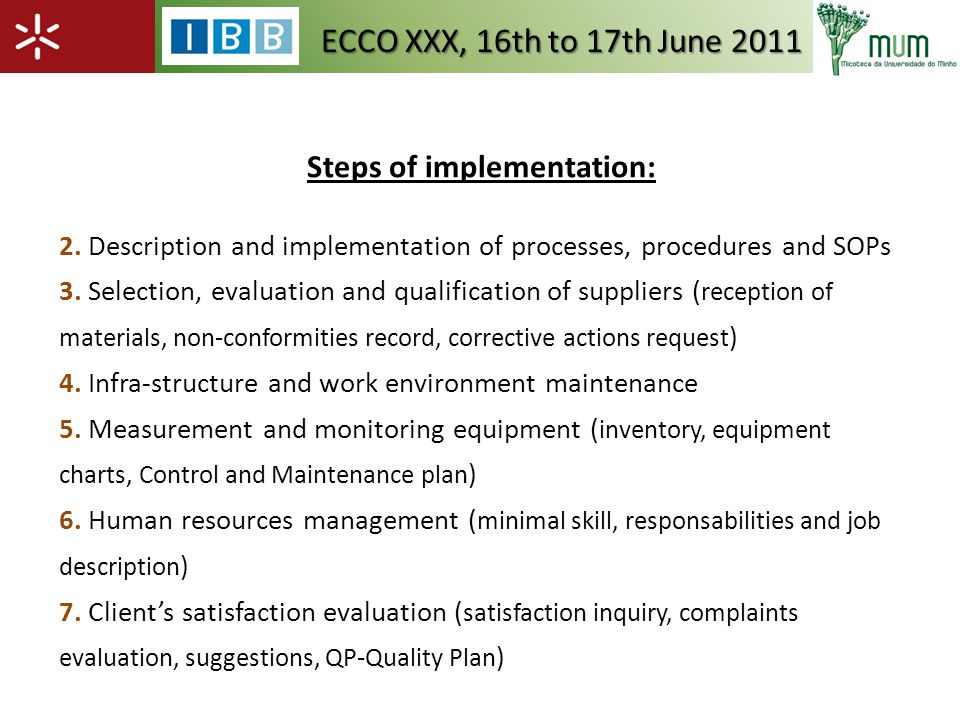Steps of implementation: 2. Description and implementation of processes, procedures and SOPs 3.