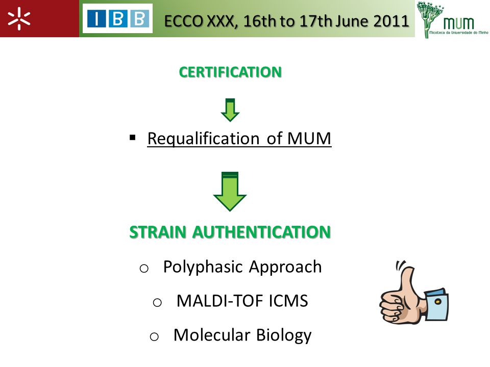 CERTIFICATION Requalification of MUM ECCO XXX, 16th to 17th June 2011 STRAIN AUTHENTICATION o Polyphasic Approach o MALDI-TOF ICMS o Molecular Biology