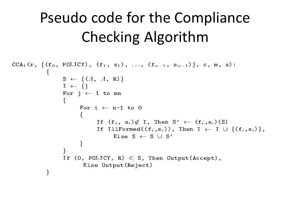 Pseudo code for the Compliance Checking Algorithm