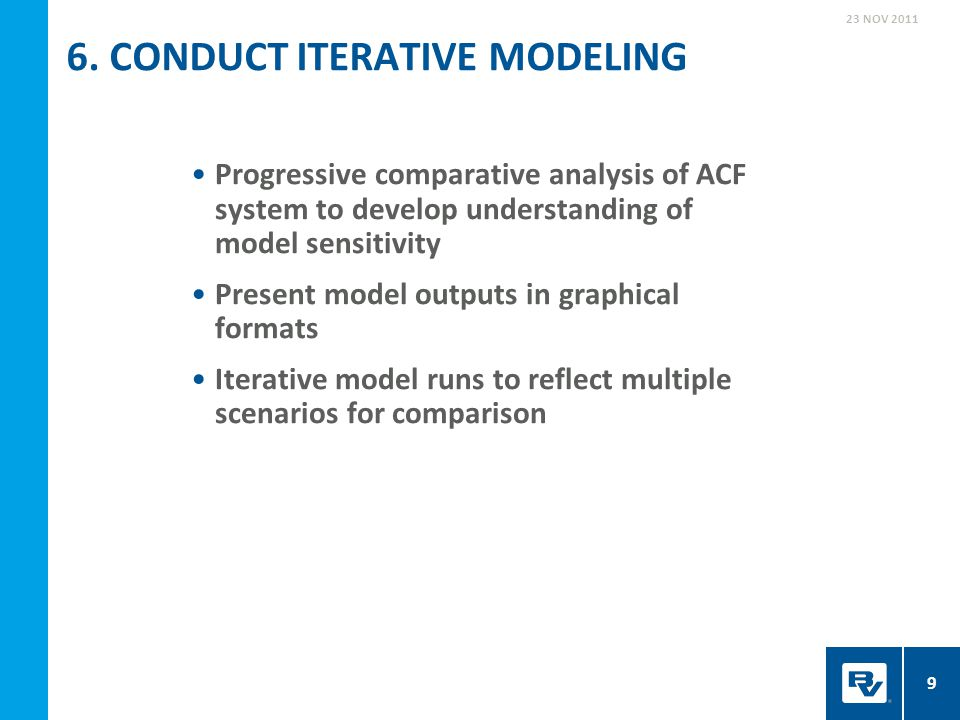 Progressive comparative analysis of ACF system to develop understanding of model sensitivity Present model outputs in graphical formats Iterative mode