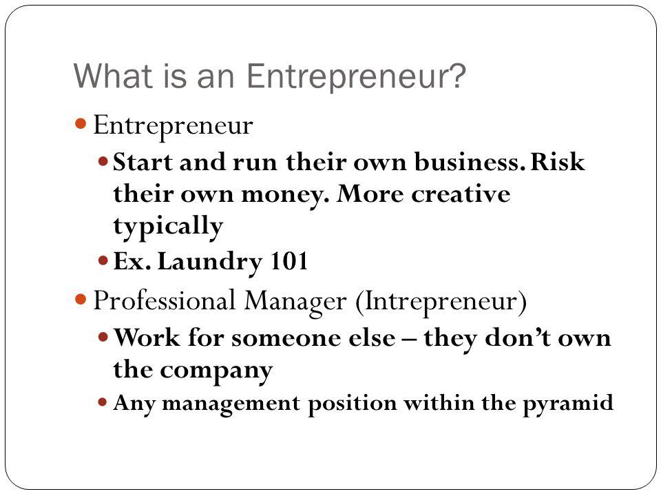 What is an Entrepreneur. Entrepreneur Start and run their own business.
