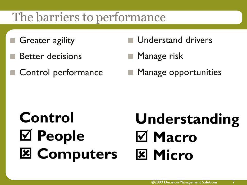 ©2009 Decision Management Solutions7 Greater agility Better decisions Control performance Understand drivers Manage risk Manage opportunities The barr