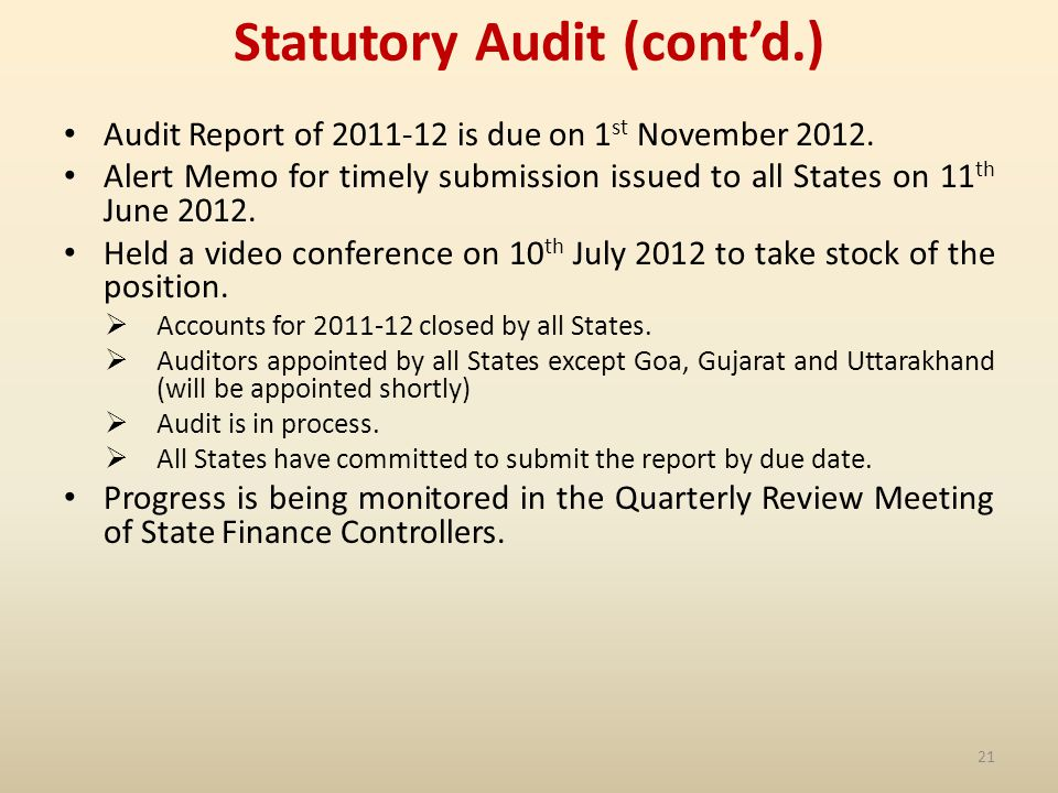 Statutory Audit (contd.) Audit Report of 2011-12 is due on 1 st November 2012.