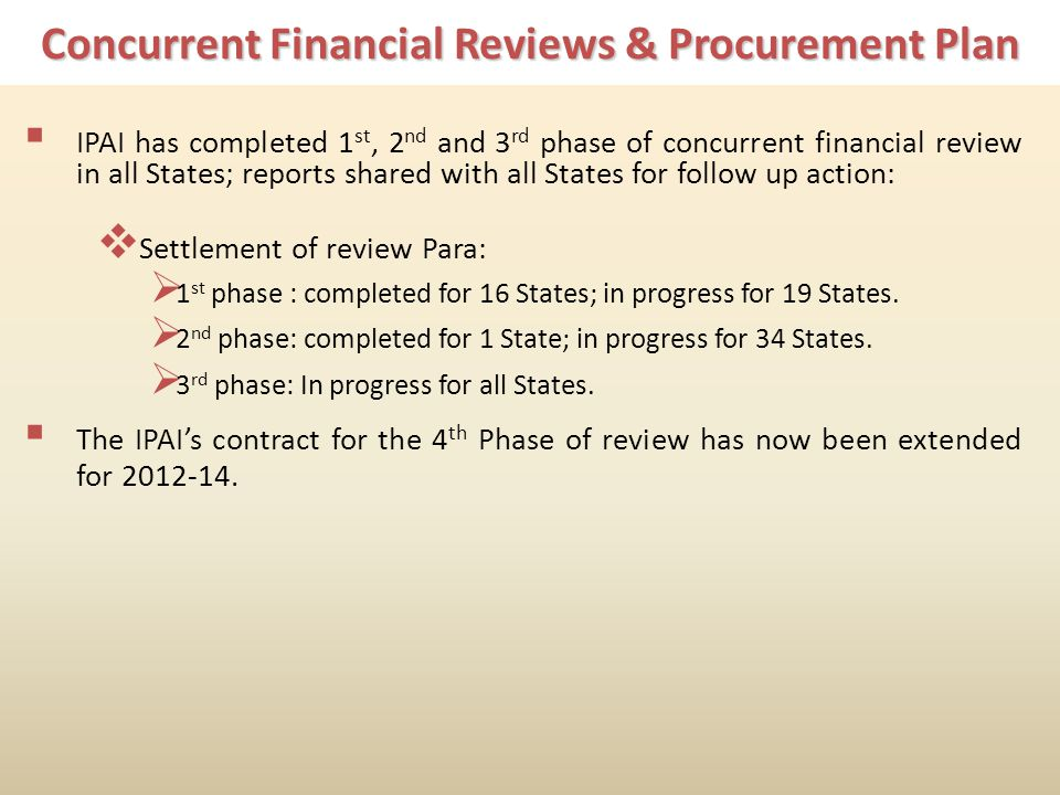 Concurrent Financial Reviews & Procurement Plan IPAI has completed 1 st, 2 nd and 3 rd phase of concurrent financial review in all States; reports shared with all States for follow up action: Settlement of review Para: 1 st phase : completed for 16 States; in progress for 19 States.