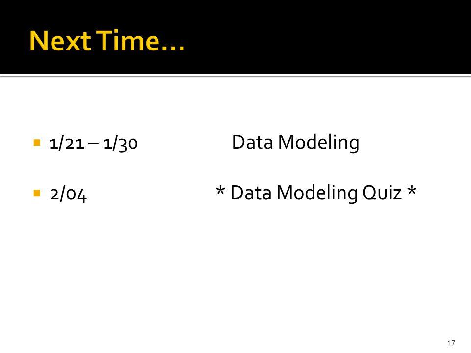 17 1/21 – 1/30 Data Modeling 2/04 * Data Modeling Quiz *