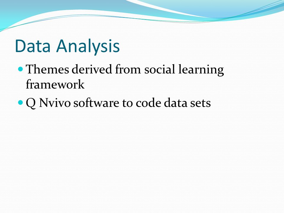 Data Analysis Themes derived from social learning framework Q Nvivo software to code data sets
