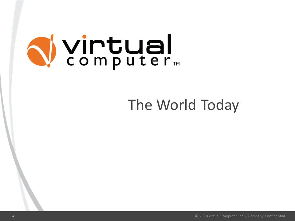 The World Today © 2010 Virtual Computer Inc. – Company Confidential4
