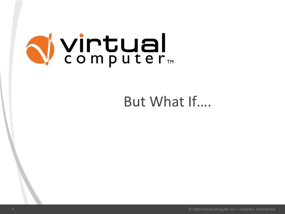 But What If…. © 2010 Virtual Computer Inc. – Company Confidential7