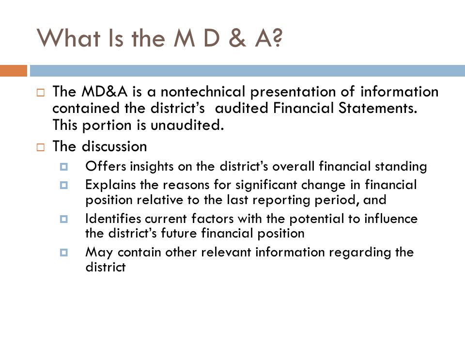 What Is the M D & A.