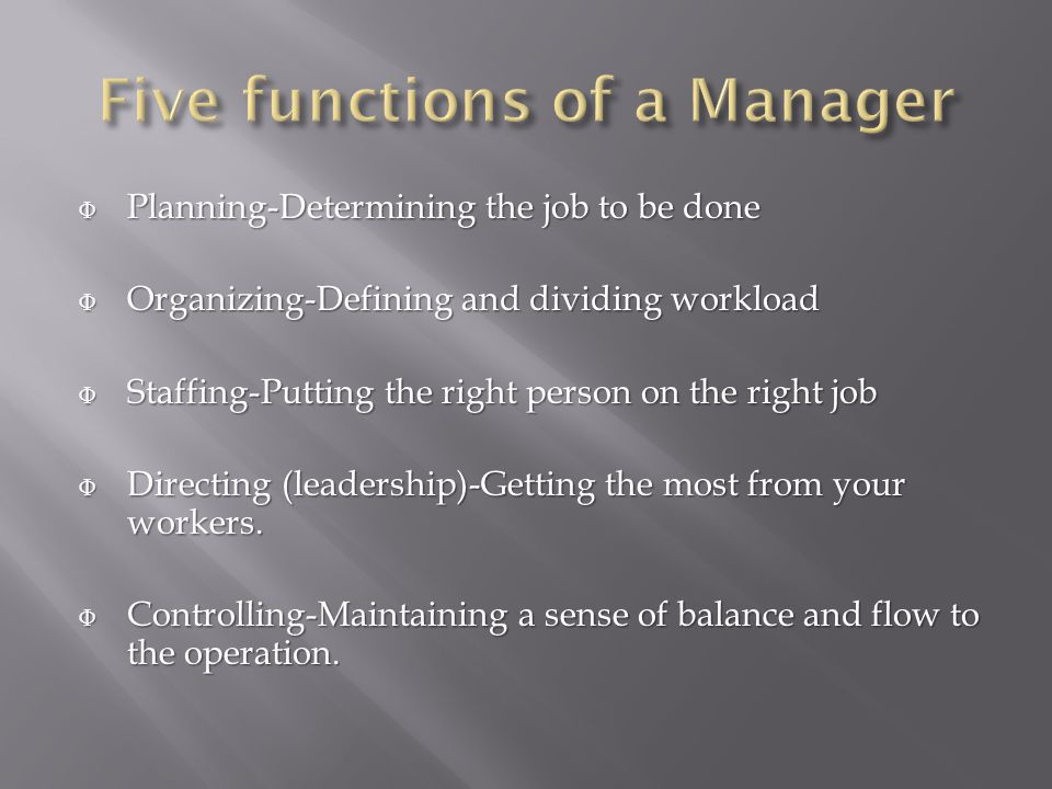 Φ Planning-Determining the job to be done Φ Organizing-Defining and dividing workload Φ Staffing-Putting the right person on the right job Φ Directing (leadership)-Getting the most from your workers.