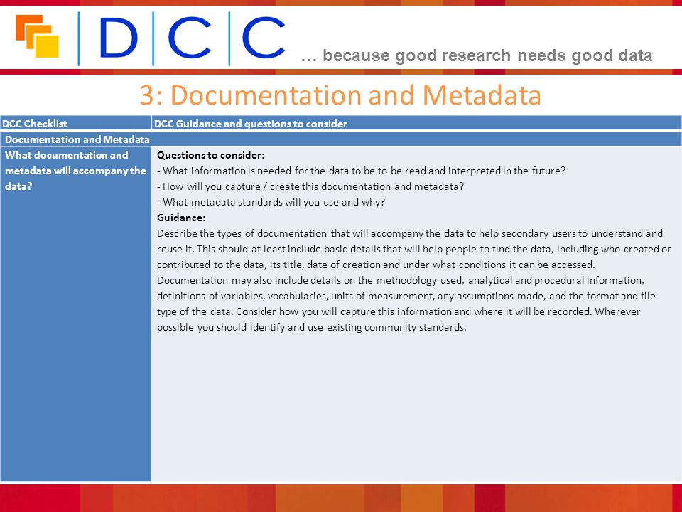 … because good research needs good data 3: Documentation and Metadata DCC ChecklistDCC Guidance and questions to consider Documentation and Metadata What documentation and metadata will accompany the data.