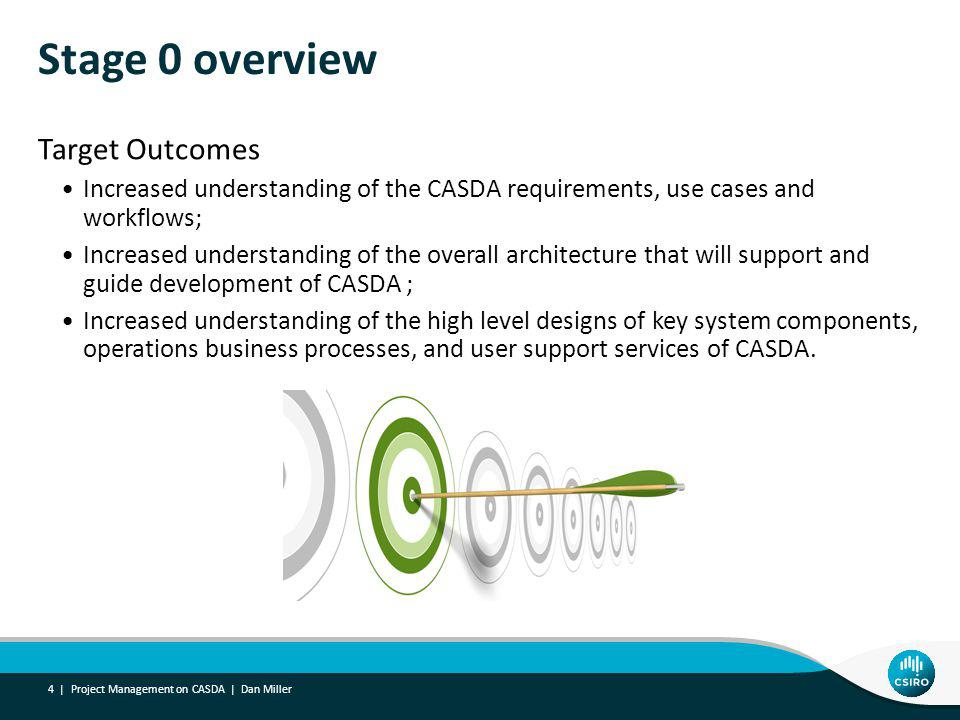 Stage 0 overview Target Outcomes Increased understanding of the CASDA requirements, use cases and workflows; Increased understanding of the overall architecture that will support and guide development of CASDA ; Increased understanding of the high level designs of key system components, operations business processes, and user support services of CASDA.