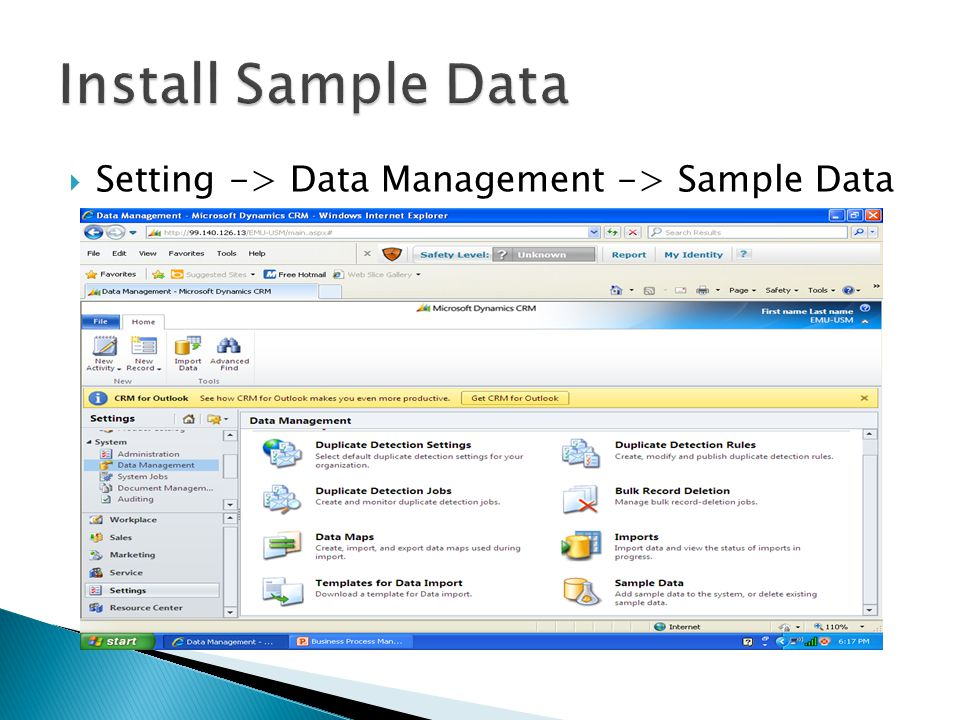 Setting -> Data Management -> Sample Data