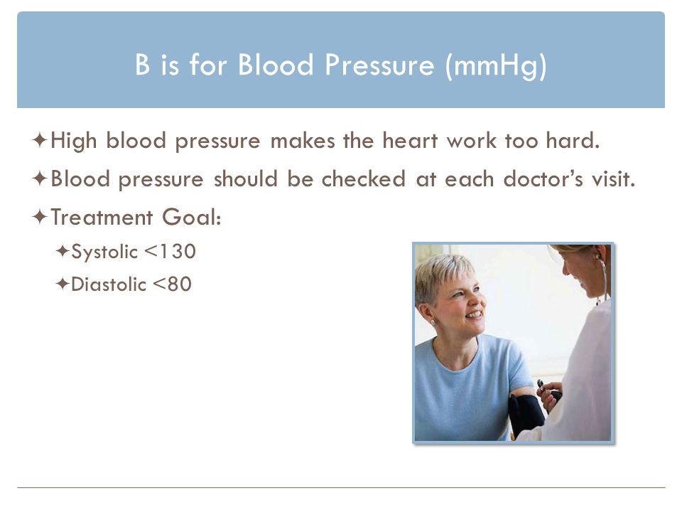 B is for Blood Pressure (mmHg) High blood pressure makes the heart work too hard.