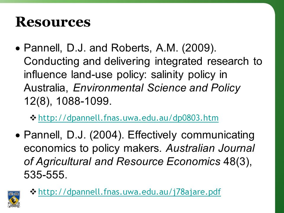 Resources Pannell, D.J. and Roberts, A.M. (2009).
