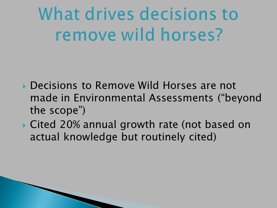 Decisions to Remove Wild Horses are not made in Environmental Assessments (beyond the scope) Cited 20% annual growth rate (not based on actual knowledge but routinely cited)
