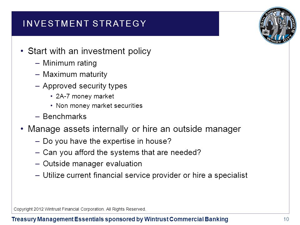 10 Treasury Management Essentials sponsored by Wintrust Commercial Banking Copyright 2012 Wintrust Financial Corporation.