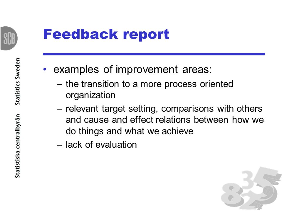 Feedback report examples of improvement areas: –the transition to a more process oriented organization –relevant target setting, comparisons with othe