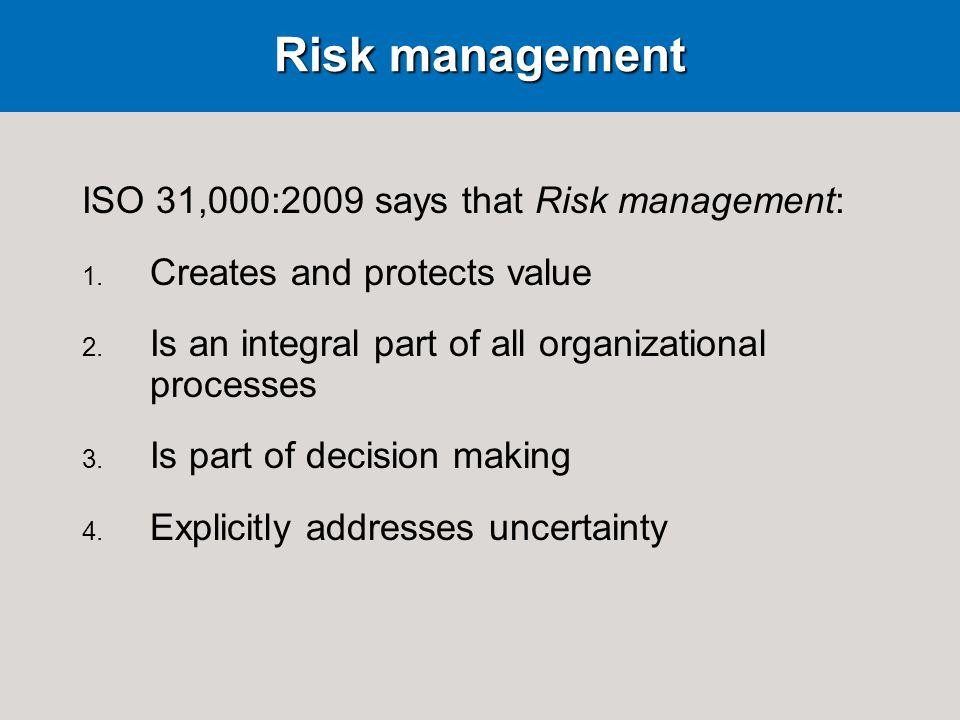 Risk management ISO 31,000:2009 says that Risk management: 1.