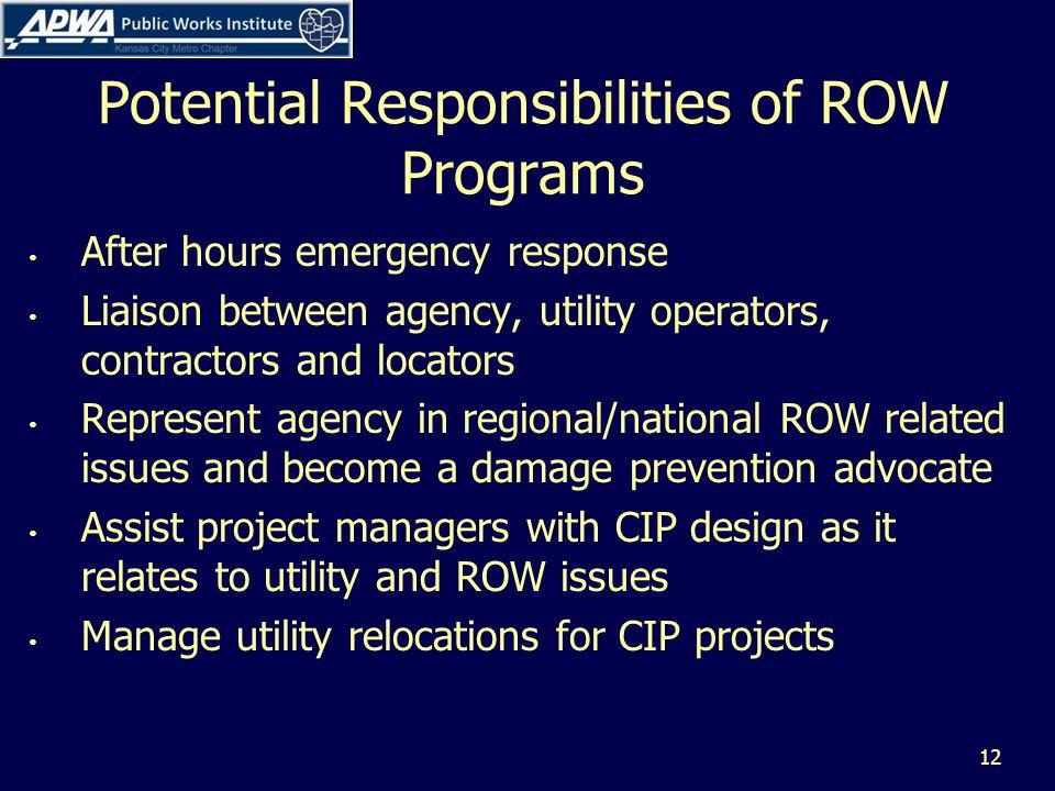Potential Responsibilities of ROW Programs After hours emergency response Liaison between agency, utility operators, contractors and locators Represen